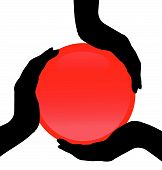 Three silhouettes of a hand holding the red button