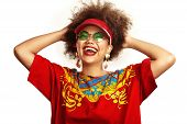picture of swag  - crazy afro swag girl in a red t - JPG