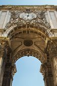 Detail of Rua Augusta Arch Lisbon Portugal photographed from low view point