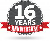 stock photo of 16 year old  - Celebrating 16 years anniversary retro label with red ribbon vector illustration - JPG