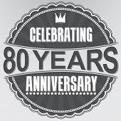 Celebrating 80 Years Anniversary Retro Label, Vector Illustration