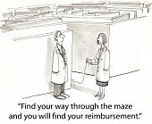 picture of mandate  - Cartoon of two doctors talking about the necessity to walk the insurance maze to get your reimbursement - JPG