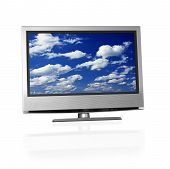 pic of clouds sky  - blue cloudy sky on flat screen tv - JPG