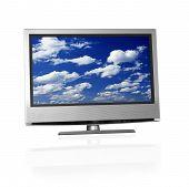 pic of clouds sky  - blue cloudy sky on flat screen tv - JPG