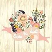 Save The Date Floral Card On Wooden Background