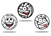 White cartoon volley balls characters