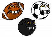 Grinning cartoon soccer, football and bowling ball