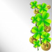 Holiday Card On St. Patrick's Day. March 17 - Day Of Good Luck, Fortunate Shamrocks And Leprechauns