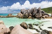 image of coco  - Granite rock formation and turquoise water at Anse Cocos in La Digue Seychelles - JPG