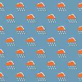 picture of rain cloud  - Cloud And Rain Pattern Vector Illustration - JPG