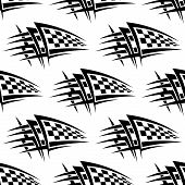 Seamless pattern with tribal racing tattoo