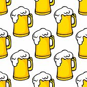 Seamless pattern of beer tankards