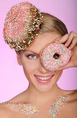 Beautiful Woman, Donut On Head And Front Of Eye