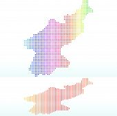 Map Of Democratic People's Republic Of Korea, North Korea With With Dot Pattern