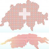Map Of Switzerland, Swiss Confederation With With Dot Pattern