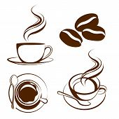 picture of latte coffee  - coffee cup set graphic design icon vector - JPG