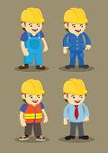 stock photo of industrial safety  - Vector character design of workers and professionals wearing yellow helmet in building and construction industry - JPG