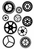 Silhouettes of some gearwheels