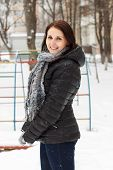 Smiling Woman Pleasure To Snow