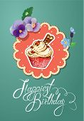 Holiday Card With Decorated Sweet Cupcake, Flovers, Vintage Frames And Calligraphic Text Happiest Bi