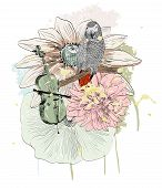 picture of parrots  - Vector sketch of a parrot with flowers - JPG