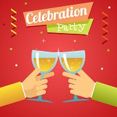 Celebration Success Prosperity Invitation Announcement Concept Symbol Hands Holds Glasses with Drink
