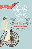 Retro Bridal shower invitation.Bride and retro bicycle