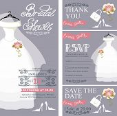 Bridal shower invitation.Wedding dress,bouquet,accessories set