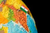 foto of indian flag  - map with miniature flag of India - JPG