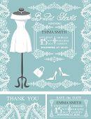 Bridal shower invitation set.Winter lace,wedding dress