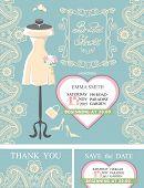 Bridal shower invitation set.Bridal dress,paisley lace,heart