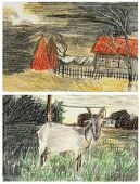 Sketch Landscape And Goat