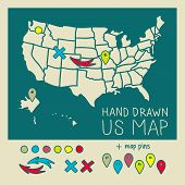 Hand drawn US map travel poster