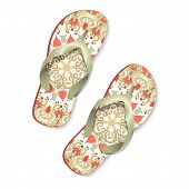 Beach Sandals  With Floral Ornament