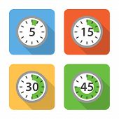 Flat Time Interval Icons With Long Shadows. Vector Illustration