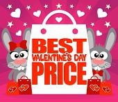 Best Price Valentine's day card with rabbits