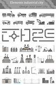 Vector Set Of Elements Industrial City