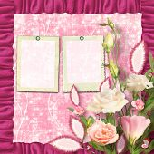 Bouquet Of Beautiful Pink Roses With The Invitation Or Congratulation On The Ornamental Paper