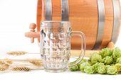 Beer barrel with beer glass