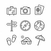Travel and tourism icon set. Simplus series. Each icon is a single object
