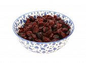Dried Cranberries In A Blue And White China Bowl