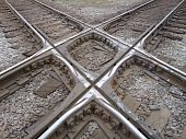Rail lines cross
