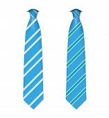 Two classic blue ties, isolated on white background