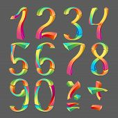 Set Of Colored Numbers 3D