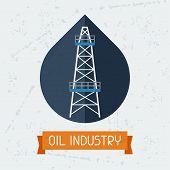 Oil derrick in oilfield background.