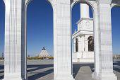 Exterior detail of the Kazakh Eli monument in Astana, Kazakhstan.