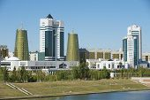 Exterior of the modern buildings in Astana, Kazakhstan.
