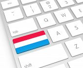 Luxembourg Flag On Computer Key