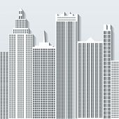 Modern Cityscape Vector Illustration With Office Buildings And Skyscrapers. Part C.