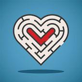 Vector Heart Shape Maze Concept